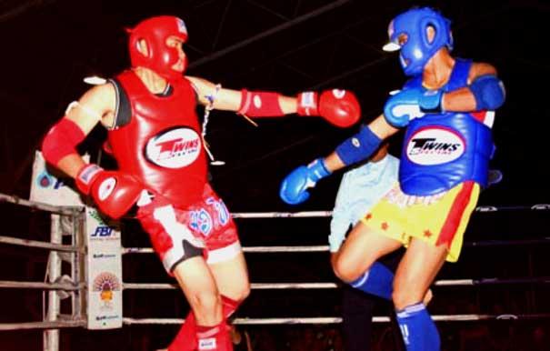 Muay Thai Combat Logo Various Forms of Kickboxing